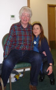 Poet Kit Wright with Remembering Srebrenica delegate, Alison Varndell.